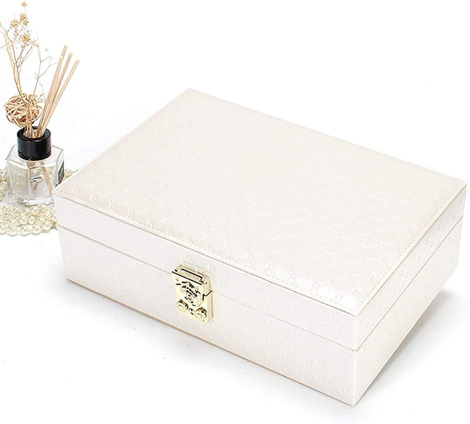 SHIRLEY Jewellery Box, Leather Rectangular Jewellery Boxes for Women and Girls, The Best Gift to Grandma, Mom, Girlfriend Or Daughter (color   White)