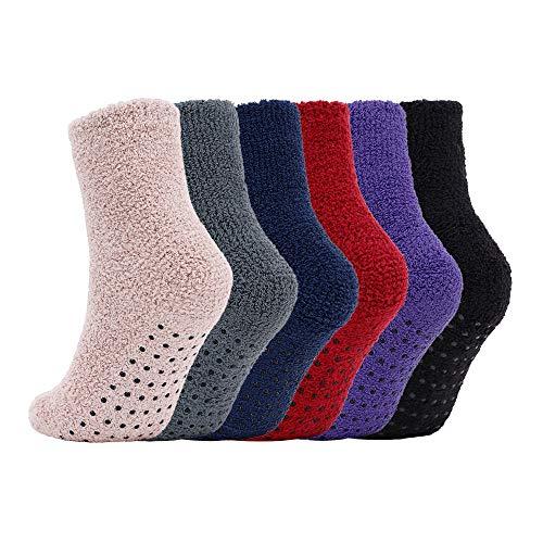Adult Men's Thick Warm Indoor Anti-skid Winter Slipper Socks 6 Pairs Multicolor