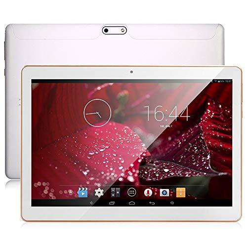 Android 9.0 OS Tablet 10 pollici 3G WiFi sbloccato Tablet con doppio slot per schede SIM 4 GB RAM 64 GB ROM Processore quad core Supporto fotocamera Netflix Youtube Chiamata telefonica (bianca)