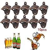 PetHot 10 PCS Montado En La Pared Abridores de Botellas de Cerveza Wine Top Cap Abrebotellas Abridor de Herramientas Vintage Vintage Bronce Rojo