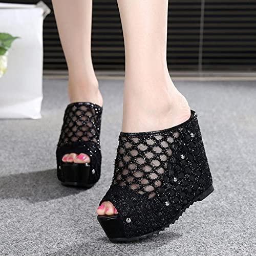 DZQQ Sandalias de Tacones Altos Mujer Playa Zapatillas de cuña Alta Mujer para Verano toboganes Tacones Abiertos Zapatillas Sexy Tacones