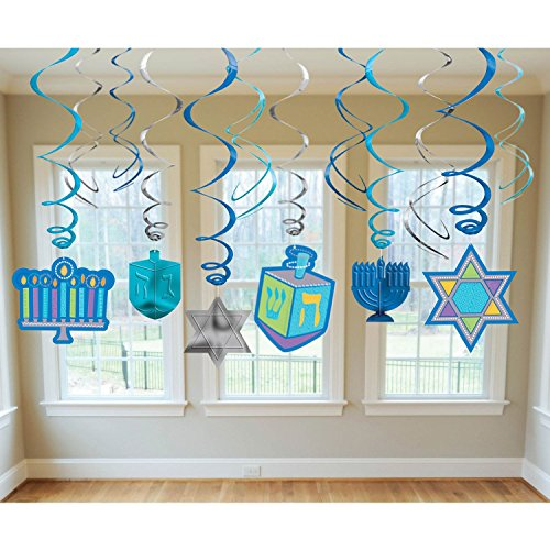 Amscan 670549 Colorful Hanukkah Icon Blue Plastic Swirls, 12 Ct. | Party Decoration