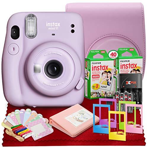 Câmera instantânea PS FUJIFILM INSTAX Mini 11 (Lilac Purple) com filme duplo Fujifilm Instax Mini (40 exposições), estojo de acessórios e conjunto de acessórios
