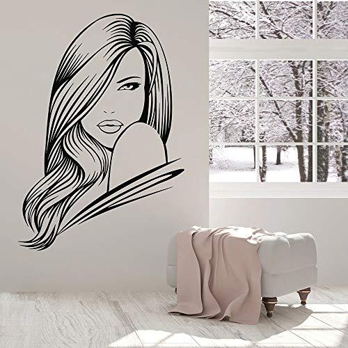 Hermosa mujer tatuajes de pared peluquería labios belleza spa habitación niña dormitorio decoración de interiores moda puertas y ventanas pegatinas de vinilo