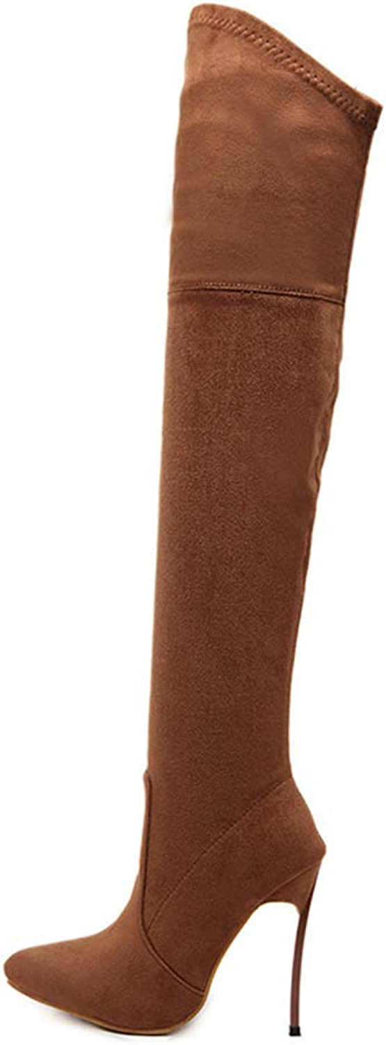 Winter Women Long Boots Stretch Slim Thigh High Boots Fashion Over The Knee Boots High Heels shoes