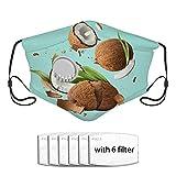 Cobertor de turbante protector solar aislado a prueba de polvo de coco maduro fresco Tocado Cubiertas bucales con seis filtros reemplazables