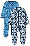 Pippi 2er Pack Baby Jungen Schlafstrampler mit Aufdruck, Langarm mit Füßen, Alter 1-2 Monate, Größe: 56, Farbe: Blau, 3821