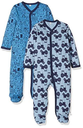 Pippi pak van 2 baby jongens slaaptramper met opdruk, lange mouwen met voeten, leeftijd 18-24 maanden, maat: 92, kleur: blauw, 3821