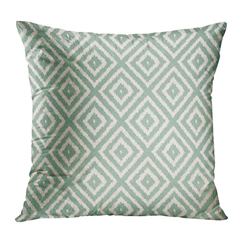 Wesbin Ikat Diamond in Seafoam Green Romantic Hidden Zipper Home Sofa Decorative Throw Pillow Cover Cushion Case Inch 18x18 Square Two Sides Design Printed Pillowcase
