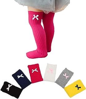 6 Pairs Bows Newborn Toddler Knee High Socks Baby Girls Bow Sock