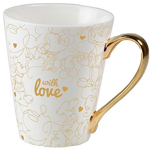 Ambition 92603 Disney Herzen 320 ml Trinkbecher Porzellanbecher Teebecher Kaffeebecher Kinder Tasse Geschenk modern elegant Gold Porzellan mit Henkel Mickey Minnie Maus