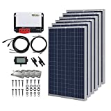 HQST 600 Watt 12 Volt Polycrystalline Solar Panel Kit with 40A MPPT Charge Controller, 6 Sets of Z Brackets, 20FT 10AWG Cable from...