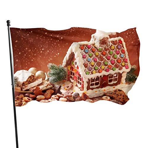 N/A Lebkuchenhaus und Kekse Flagge, Premium-Polyester, Dekoration, 152 x 91 cm