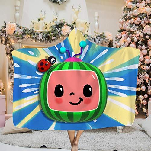 Co-co-Melon Hooded Cloak Blanket Soft Wearable Blanket Kids & Adults Throw Blanket 50 x 60 inch