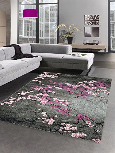 CARPETIA Alfombra DISEÑADOR Pelo Corto Flores Gris Rosa Größe 60x110 cm