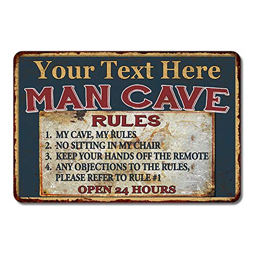 Chico Creek Signs Personalized Man Cave Sign Rustic Home Metal Bar Beer BBQ Cars Custom Dads Decor Fathers Day Garage Grill Mancave Mechanic Plaque Hot Rod Tin 8 x 12 Matte Finish Metal 108120049001