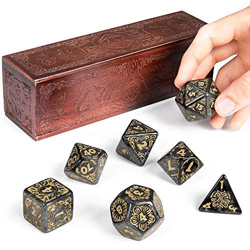 Titan Dice: Nyx | 25mm Giant Polyhedral Dice 7-Piece Set & Engraved Wooden Display Box | Smoke Color with Gold Numbers | Tabletop Roleplaying Fantasy RPG Gaming Novelty Accessories