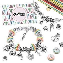 Cheer4bee Charm Armband Kit DIY - Geschenk für Mädchen Teens, Basteln Mädchen Personalisierte Geschenkset, Armband Mädchen Geschenk 8-12 Jahre, Schmuck Bastelset Mädchen(3 Silber Kette)
