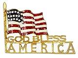 Alilang Clear Crystal Rhinestones Stripes Enamel 4th of July God Bless America USA Flag Patriotic Brooch Pin