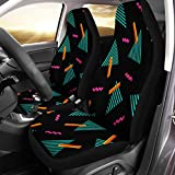 Semtomn Front Car Seat Covers Set of 2 80S Colorful Geometric in Memphis Retro Pattern 90S Abstract Fit Most Vehicle, Cars, Truck, SUV, Van