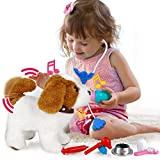 POLARDOR Electronic Interactive Walking Dog Toy, Singing, Barking, Wagging Tail, 9.8' Plush Saint Bernard, Realistic Walking Pet, Stuffed Puppy Dog Toys Gifts for Kids Girls Boys
