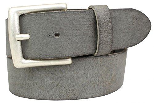 Gürtel aus weichem Vollrindleder Used-Look 4,0 cm | Jeans-Gürtel für Damen Herren 40mm | Ledergürtel Vintage-Look Schwarz Braun Blau Cognac 4cm
