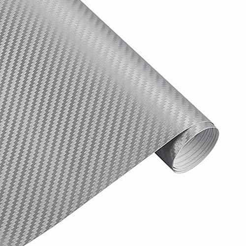 3D Sticker auto Accessori auto in fibra di carbonio vinile avvolgere Film foglio Rullo Car Decal Film Car Styling for auto Accessori for moto (Color Name : Silver)