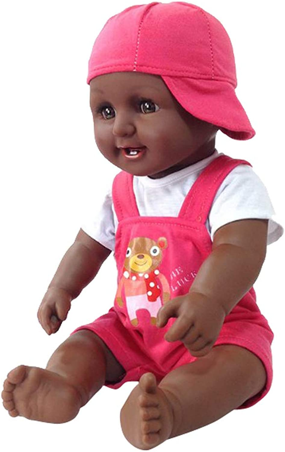 Kesoto 50cm Soft Vinyl Toy with Clothes Black Skin Doll in Pink Suspender Pants African Boy Dolls Baby Black Doll