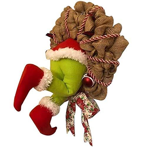 Nicetruc Navidad Guirnalda de la arpillera de Santa ladrón robó Grinch Puerta Principal de Acción de Gracias Feliz Navidad decoración de Interior