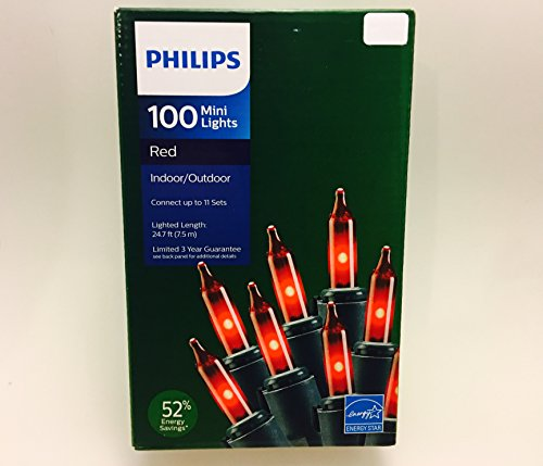 Philips 100 Red Mini String Lights Energy Star 24.7 ft on Green Wire Christmas Valentines Patio