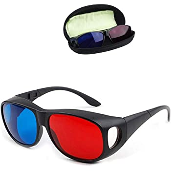 Solarson 3D Glasses with Case Red Blue 3D Glasses for All 3D Movies Games TV Light Simple Design