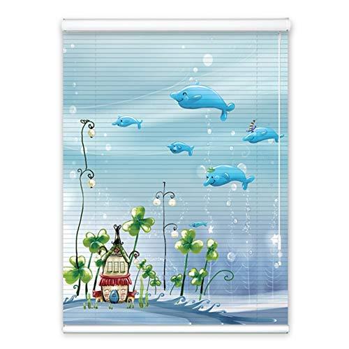 YAN FEI Persianas venecianas de Aluminio Azul con patrón de Pescado oceánico, Sombra de la Ventana de Metal para la decoración de la Sala de Estar de la habitación Quick Install Roll