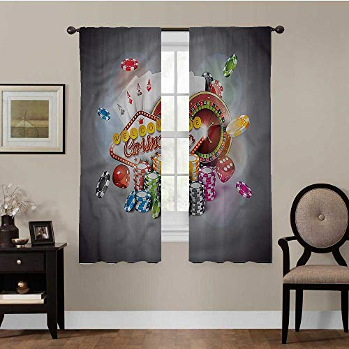 Patio Sliding Door Curtain Poker Tournament, Chips and Cards Noise Reducing Thermal Insulated Blackout Window Drapes Best Home Decoration, Set of 2 Panels (36 x 63 Inch)