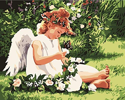 Q&K Wooden Puzzles 500 Piece for Kids White Baby Angel and Butterfly Adult Puzzle Toys BestGiftforChildren No Glue Required