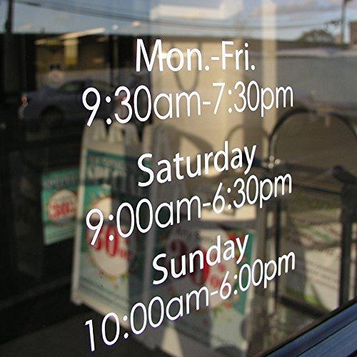 Custom Business Hours Window Decal - 10.5