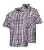 Champion Shirt für Herren, kurze Ärmel, Packung bestehend aus 2 Stück Gr. XXXXX-Large, blau kariert
