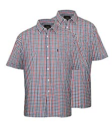 Pack of Two Mens Champion Doncaster Classic Country Style Check Shirt (Sized Generously Order Using The Chest Sizes For Best Fit) Breast Pocket Branded Buttons And Straight Cut Hem Fine Quality Yarn Dyed Check Fabrics Short Sleeved 35% Cotton 65% Pol...