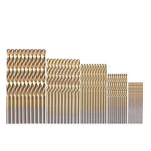 Gasea 50pcs Mini Twist Drill Bit Set, Micro Precision 1/1.5/2/2.5/3mm Bits with Titanium Coated High Speed Steel for Wood Plastic Aluminum Alloy