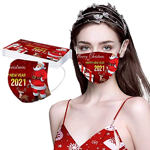 10 Stücke 2021 Einmal Mundschutz Mit Motiv Happy New Year, Damen Herren 3 Lagig Staubschutz Atmungsaktive Mund und Nasenschutz, Multifunktionstuch Bandana Halstuch Schals