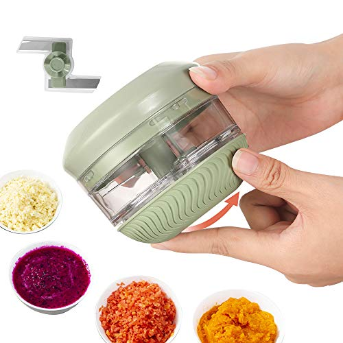 FUHUIM Mini Manual Food Chopper, Durable Hand Held Food Choppers and Dicers, An Extra Blade, Fits for Chopping Vegetables/Fruits/Onions/Garlics/Salad/Coleslaw/Puree
