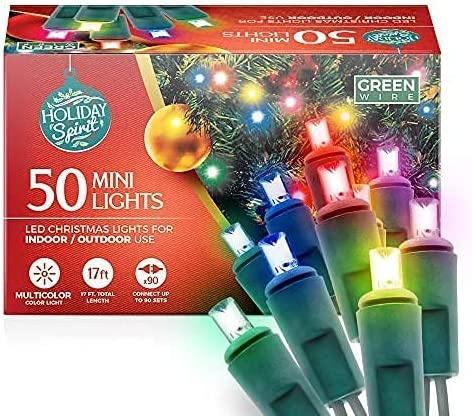 high quality Holiday Spirit Christmas Lights, online 50 LED Mini Christmas String Lights for Indoor & Outdoor Use, 120V UL588 Listed Light Strings for Christmas Tree Decoration, Light Displays, Parties lowest (50, Multi) sale