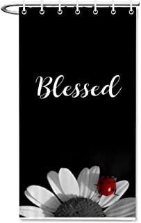 Danings Blessed Bible Verse Shower Curtain for Bathroom Small Set 36 x 72 inches Fabric Water Repellent Odorless Bath Stall Size with 7 Hooks