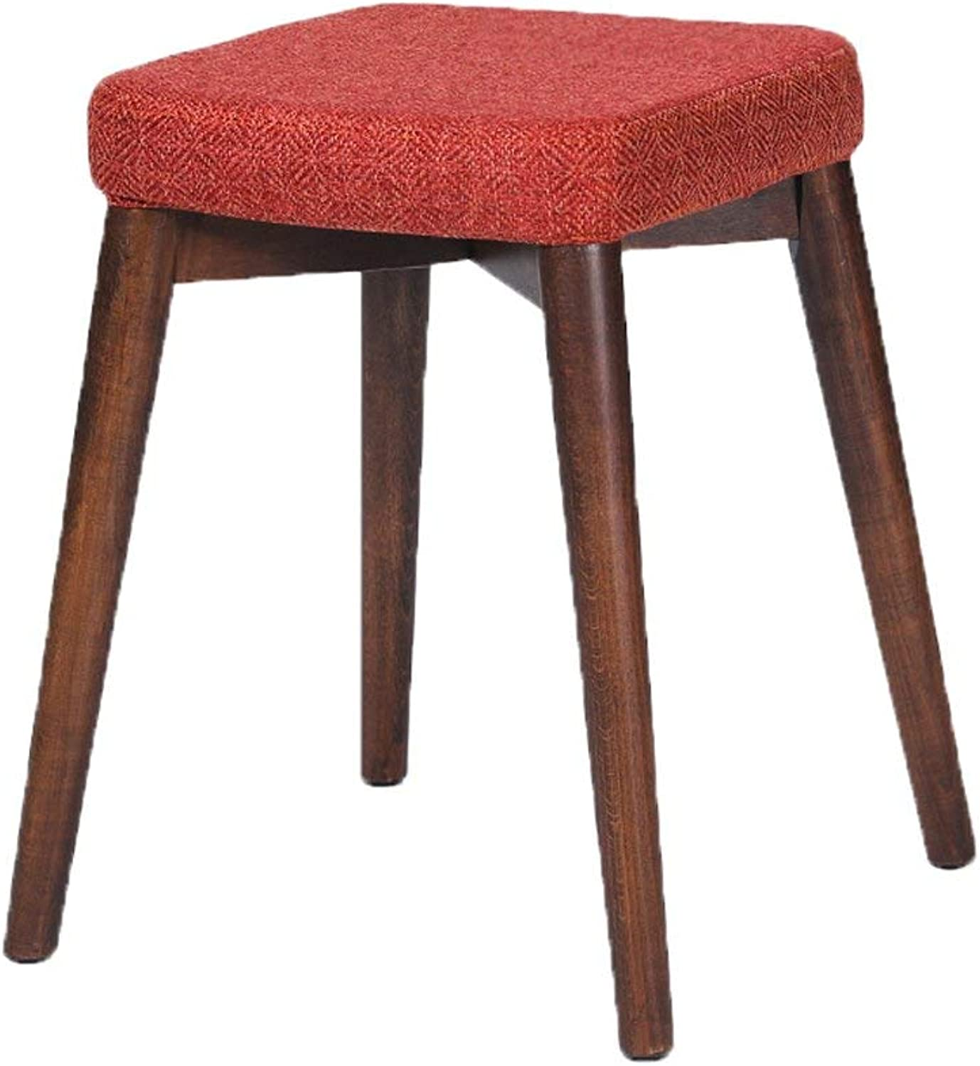 MONFS HOME Solid wood fabric stool home dining stool fashion creative makeup dressing stool Nordic small bench - small stool (color   B)