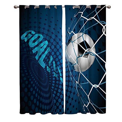 AHJJK Ojales Cortinas Fútbol Azul Opacas Reduccion Ruido Aislantes Cortinas poliéster -Aplicar para Dormitorio Moderno Salón Y la habitación de los niños 2 Pieza 110x215 cm