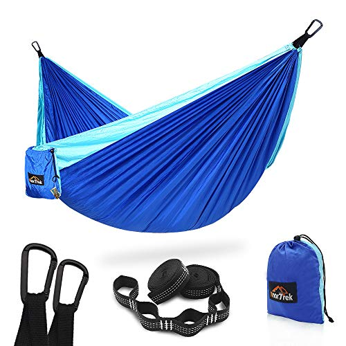 AnorTrek Camping Hammock, Super Lightweight Portable Parachute Hammock with Two Tree Straps (Each 5+1 Loops), Single & Double Nylon Hammock for Camping Backpacking Travel Hiking (Blue&Sky Blue)