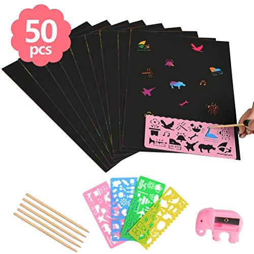 WOWOSS Scratch Art 50 Hojas Dibujo Scratch Láminas para Rascar Creativas Papel para Niños Dibujar, Manualidades, Incluye 4 Plantillas de Dibujo 5 Palos de Madera y un Sacapuntas