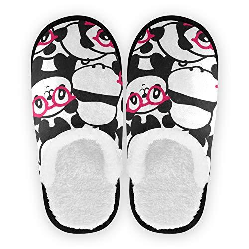 Mnsruu Panda Brille, Tierhaus-Hausschuhe, rutschfeste Baumwolle, Hausschuhe, Zuhause, Hotel, Spa, Schlafzimmer, Reisen, M für Herren und Damen