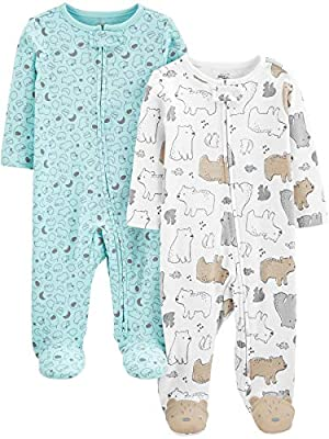 Simple Joys by Carter's Baby Neutral 2-Pack Cotton Footed Sleep and Play, Bear/Animal Print, 3-6 Months from Simple Joys by Carter's