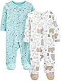 Simple Joys by Carter's Neutral 2-Pack Cotton Footed Sleep and Play Infant Toddler-Bodysuit-Footies, Oso/impresión Animal, 3-6 Meses, Pack de 2