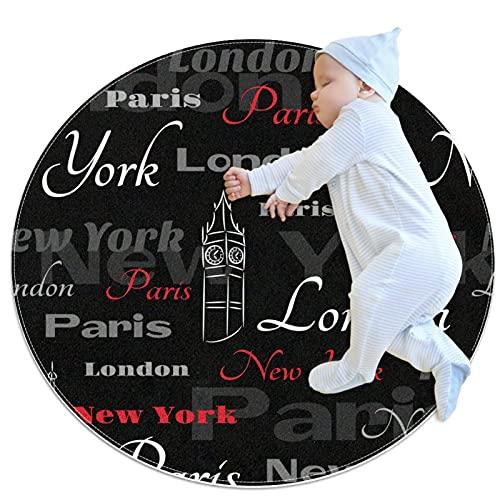 nakw88 Alfombra redonda súper suave para el piso de interior lujoso, para sala de estar, dormitorio, alfombra impresa símbolos de ciudades, Nueva York, Londres, París